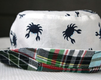 boy's bucket hat, patchwork plaid crabs, reversible, 5 sizes