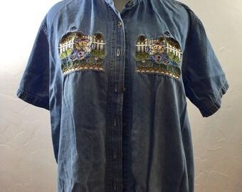 Vintage Denim, Jean Shirt, Bear Shirt, Bear Blouse, Grandma Style, Ironic 90s, 90s Clothing, Button Down, Cheesy Shirt, Cute Bear Shirt,