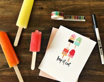Keep It Cool - Hand brush lettered summer popsicle greeting card - with coordinating envelope