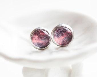 Berry Red Studs, Berry, Red Studs, Berry Studs, Purple Studs, Red Earrings, red Purple, Purple Earrings, Stud Earrings, Sunset, Gift for Her