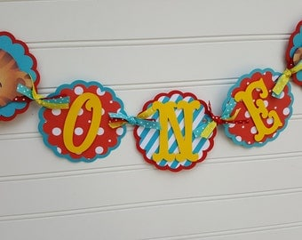 Daniel the Tiger banner, Daniel the Tiger Party decorations. Highchair banner. ONE banner. 1st Birthday banner. First Birthday banner