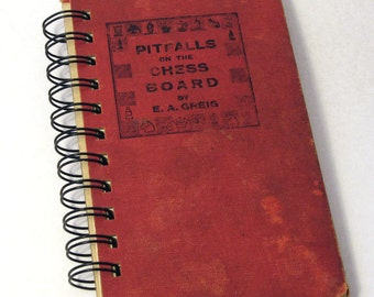 VINTAGE CHESS BOOK Handmade Journal Vintage Upcycled Book