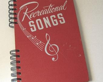 1940s RECREATIONAL SONGS Handmade Journal Vintage Upcycled Book Gift for Singer