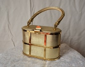 ETRA vintage 50's gold caged box cocktail evening purse bag