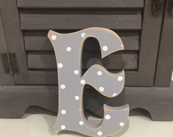 Painted Wooden Letter E - Large , Fairytale Font, 50cm high, almost 20 inch, any colour, wall letter, wall decor, 18mm