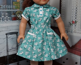 Reserved 1930s vintage style dress in blue green retro fabric for AG Kit, Ruthie, Molly or Emily.  Fits Tonner My Imagination 18 inch doll.