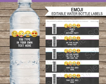 Emoji Water Bottle Labels or Wrappers - Emoji Theme Birthday Party Printables - Party Decorations - INSTANT DOWNLOAD with EDITABLE text