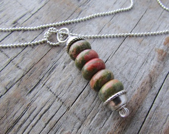 Unakite Necklace, stone pendant, green and pink gemstone stack pendant