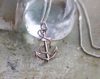 Anchor Silver Necklace - Small Nautical Pendant on Chain - Sterling Silver Vintage Jewelry