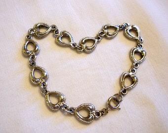 Silver tone Heart Link Bracelet, Romantic Jewelry