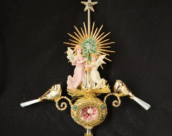 victorian christmas tree topper, angel topper, victorian topper, christmas topper, topper with angel - PEACE & LOVE