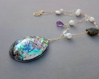 Abalone Shell Necklace - Purple Amethyst Necklace with Mother of Pearl, Rock Crystal, Flash Labradorite and Gold Fill