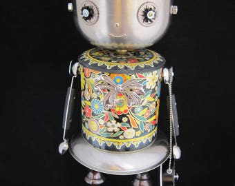 Dainty Daher Bot - found object robot sculpture assemblage by Cheri Kudja with Bitti Bots