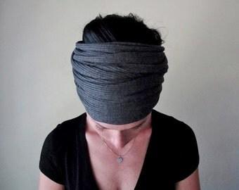 CHARCOAL GREY Head Scarf - Ear Warmer Hair wrap - Thick Ribbed Knit Headband - Womens Hair Accessories - Gray Ribbed Knit Head Scarf