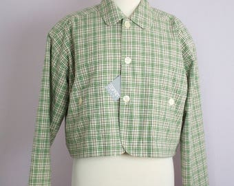 Vintage 1980's Esprit Sport Green Plaid Boxy Cropped Jacket With Tag M