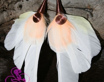 White and peach Macaw Feather Earrings