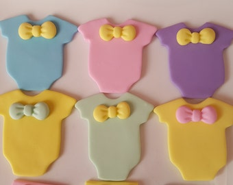 24 Baby Shower Fondant Cupcake Toppers - Onesies & Diapers