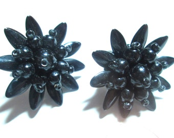 Black Dahlia Glass Earrings Germany 1940s