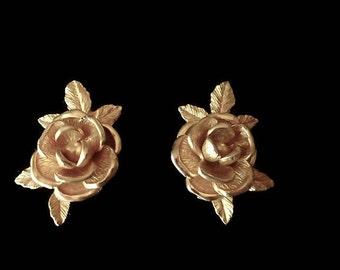 Vintage Rose Earrings Brushed Gold Clip On 1950s