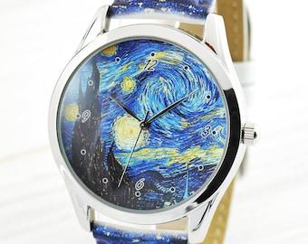 Starry Night Watch   Gift for Artist   Van Gogh Watch   Unique Art Lover Gift   Art School Graduation Gift   Friend Gift   FREE SHIPPING