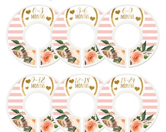 Closet Dividers, Baby Closet Dividers, Toddler, Days of Week, Closet Organizer, Pink Gold Flowers, Baby Shower Gift, Pink Gold Nursery Decor