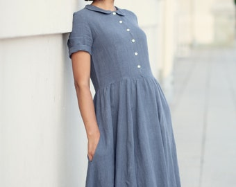 Pleated Dress, Plus Size Dress, Gray Dress, Minimalist Dress, Buttoned Dress, Long Dress, Classic Dress, Trendy Dress, Stylish Dress