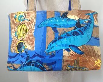 Guy Harve Dolphin Canvas Handbag