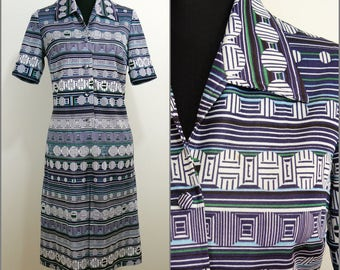 Retro VINTAGE 1970s Navy Blue White Graphic Spot A-Line Dress 12 40 / op art / Geometric