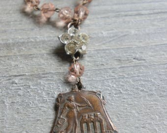 The Goddess-Vintage greek goddess necklace vintage medal pink rosary beads coral pink assemblage jewelry F565-by French Feather Designs