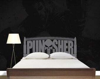 Punisher Skull - Punisher Decal - Punisher Headboard - Vinyl Headboard - Vinyl Wall Decal - Vinyl Decal - Punisher Bedding - 6011