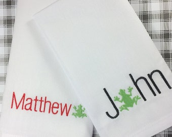 Personalized Frog Lunch Cloth Napkins, Set of 4, Embroidered Cloth Napkins, Kids Cloth napkins, lunch napkins, lunchbox napkin