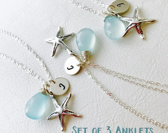 Starfish anklets, set of THREE,Bridesmaid gift, sterling silver, bridal jewelry, personalized ankle bracelets,Destination wedding, otis b