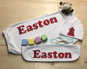 Personalized baby gown pittsburgh steelers baby baby los angeles angels baseball baby personalized baby gift set angels babypersonalized baby gown negle Choice Image