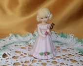 Vintage Enesco Growing Up Birthday Girls Figurine 5th Blonde age 5 *eb