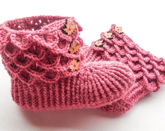 Dragon Scale House Boots - Adult Sizes - Crochet Alpaca Slippers with Wood Buttons - Crocodile Stitch Boots