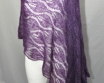 Purple hand knit lace shawl with glass beads, Plum luxury evening stole, Beaded Lace Shawl in Royal Lilac, Mohair Knit Shawl, Evening Shawl
