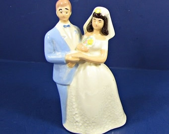 Vintage WEDDING CAKE TOPPER Couple Figurine Anniversary Party Ivory Dress Blue Tux