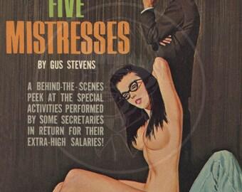 The Nine to Five Mistresses - 10x16 Giclée Canvas Print of a Vintage Pulp Paperback Cover