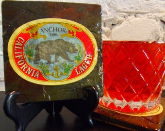 Handmade Brew Slate Coaster - Anchor California Lager