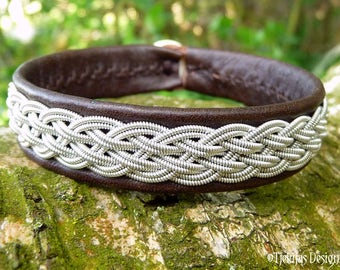 Handmade Pewter and Leather Cuff DVALIN Unisex Sami Viking Bracelet - A Piece of the North custom made to Your Size and Color