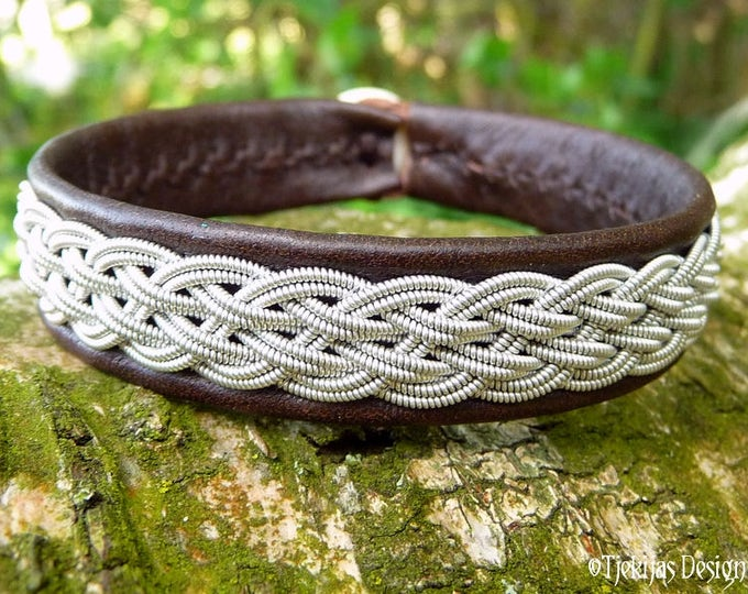 Handmade Pewter and Leather Cuff DVALIN Unisex Sami Viking Bracelet