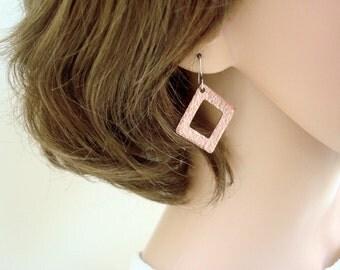 Hammered copper earrings - Geometric Earrings - Copper Jewellery - Simple earrings - Modern Earrings - 7th anniversary - Gift for her