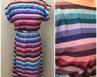 Purple teal pink thick stripe boatneck 80s day dress size medium