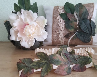 Rustic Wedding Accessory Set/ Flower Girl Basket, Ring Pillow and Wedding Garter Set/ UNIQUE  OOAK/ Burlap Wedding /Rustic Wedding