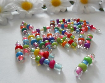 5Bead Glass Dangle Beads