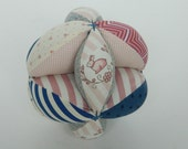 Infant Soft Toy Ball - Pink and Blue Baby Clutch Ball - Baby Shower Gift - Montessori Toy - Hearts and Bunnies - Easter Basket Toy, Amish