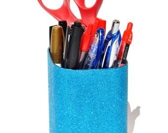 Glitter Pencil Cup Holder.  Glitter Makeup Brush Organizer.  Pen cup holder.  Bling.  Sparkles.  Glitter desk organizer.