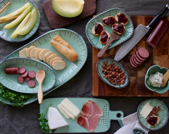 Jumbo Oval Serving Platter - Rustic Handmade Ceramic Serving Tray - Aqua Mist Dinnerware - Made to Order