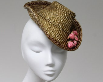 The Florentina Hat - Straw Fascinator Hat w/ Roses & Beads