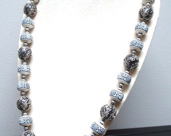 Vintage Black & White Necklace With Silver Overlay Beads - Silver Metal Rose Clasp - 1920s 1930s jewelry